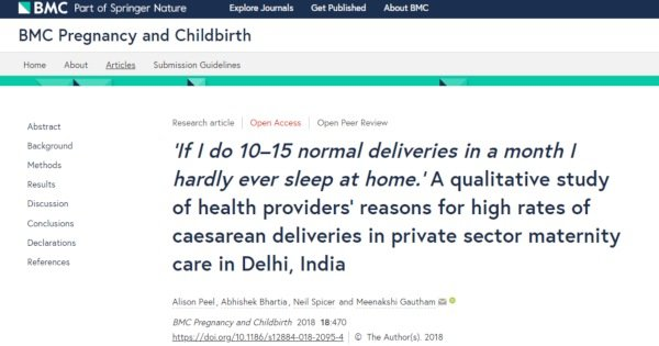 Private Hospital Caesarean Rates in India: Health Providers